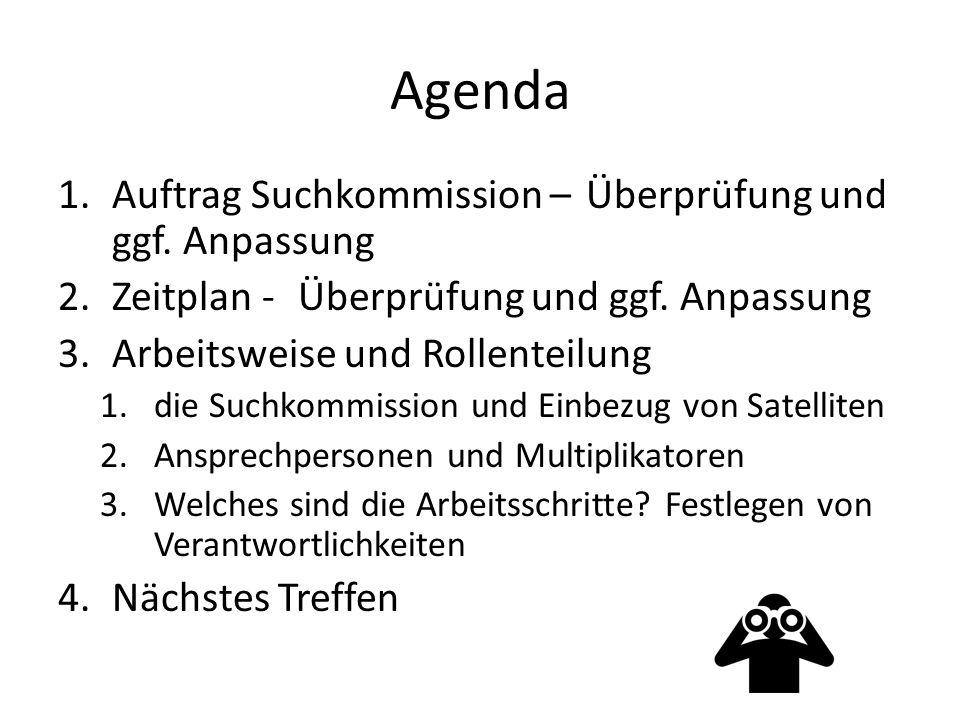Agenda 1.Auftrag Suchkommission – Überprüfung und ggf.