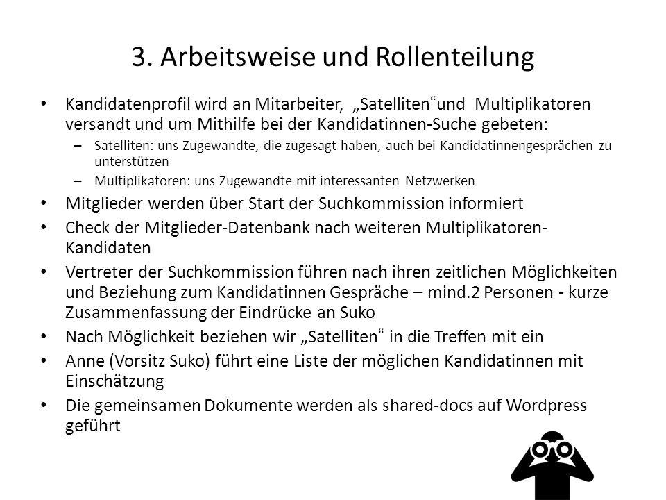 """3. Arbeitsweise und Rollenteilung Kandidatenprofil wird an Mitarbeiter, """"Satelliten""""und Multiplikatoren versandt und um Mithilfe bei der Kandidatinnen"""