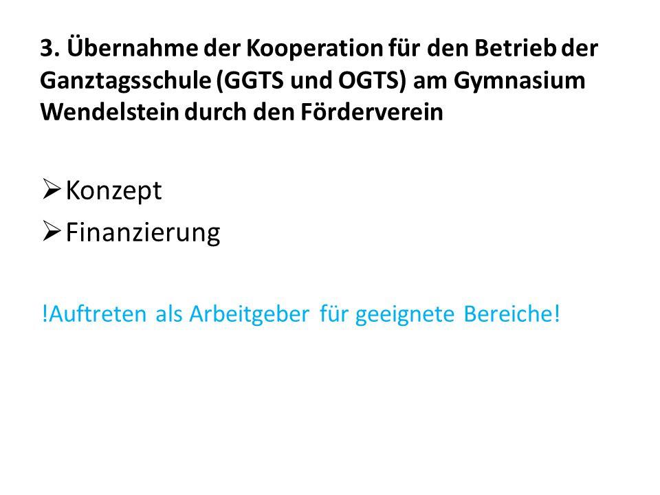 3. Übernahme der Kooperation für den Betrieb der Ganztagsschule (GGTS und OGTS) am Gymnasium Wendelstein durch den Förderverein  Konzept  Finanzieru
