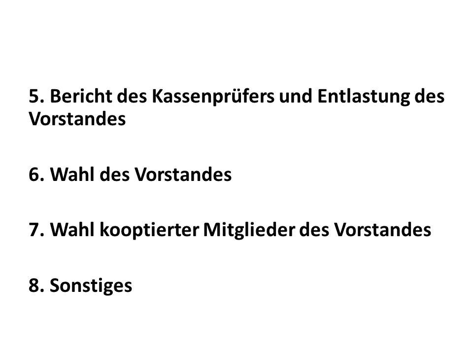 5. Bericht des Kassenprüfers und Entlastung des Vorstandes 6. Wahl des Vorstandes 7. Wahl kooptierter Mitglieder des Vorstandes 8. Sonstiges