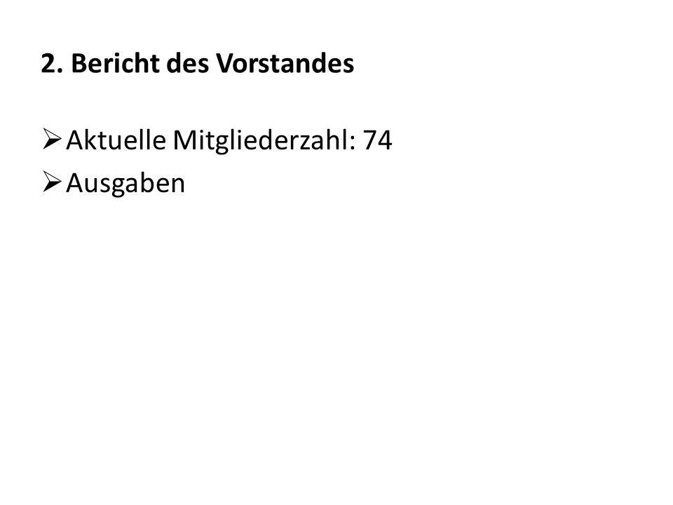 2. Bericht des Vorstandes  Aktuelle Mitgliederzahl: 74  Ausgaben