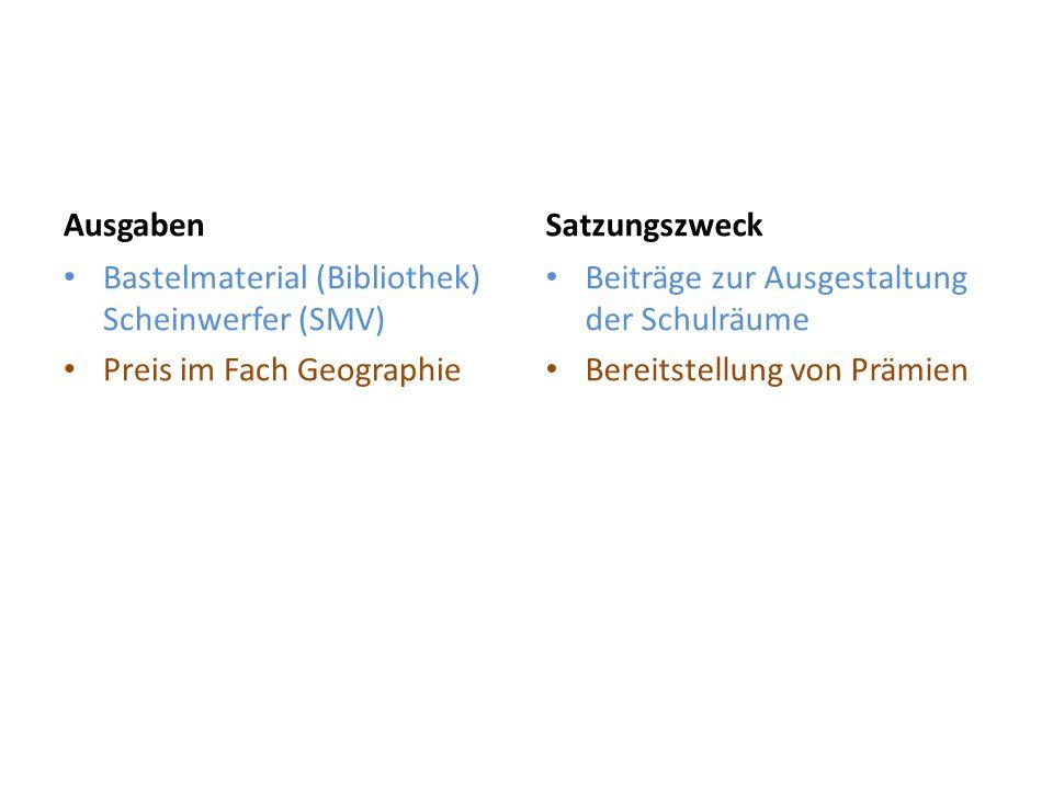 Ausgaben Bastelmaterial (Bibliothek) Scheinwerfer (SMV) Preis im Fach Geographie Satzungszweck Beiträge zur Ausgestaltung der Schulräume Bereitstellun