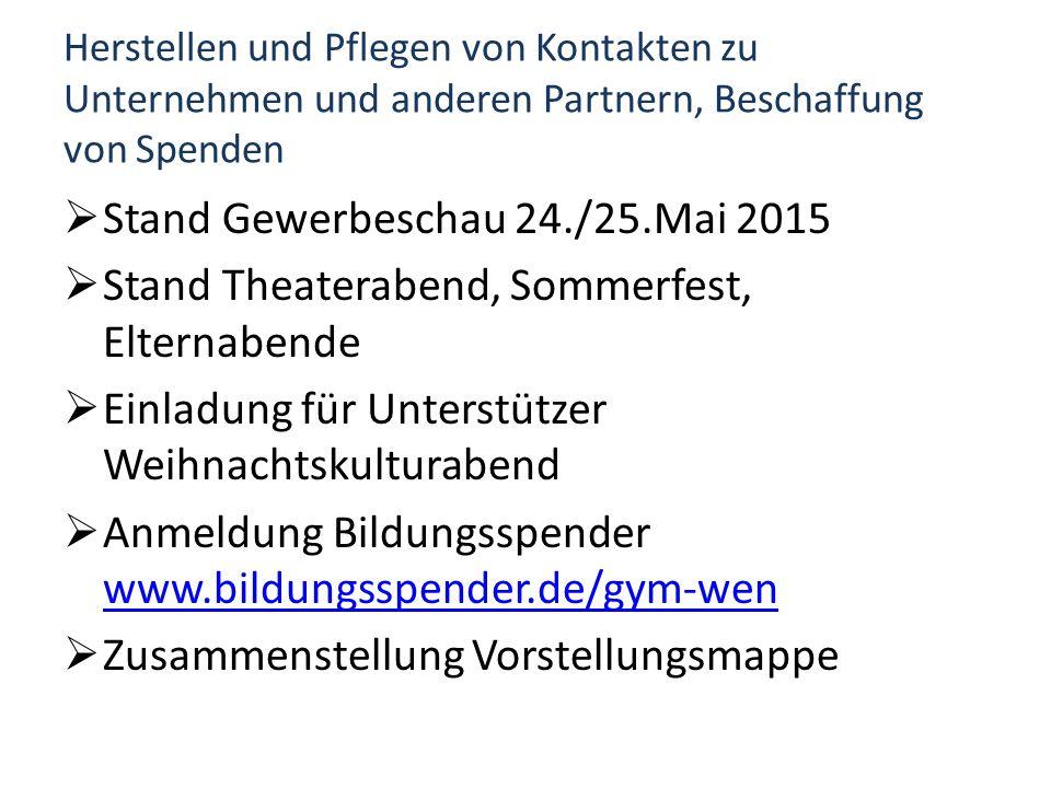 Herstellen und Pflegen von Kontakten zu Unternehmen und anderen Partnern, Beschaffung von Spenden  Stand Gewerbeschau 24./25.Mai 2015  Stand Theater