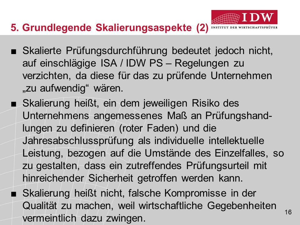 16 5. Grundlegende Skalierungsaspekte (2) ■Skalierte Prüfungsdurchführung bedeutet jedoch nicht, auf einschlägige ISA / IDW PS – Regelungen zu verzich
