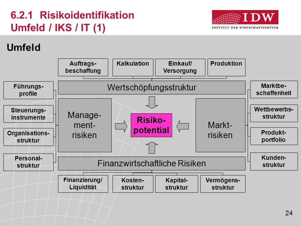 24 6.2.1 Risikoidentifikation Umfeld / IKS / IT (1) Manage- ment- risiken Markt- risiken Finanzwirtschaftliche Risiken Wertschöpfungsstruktur Auftrags