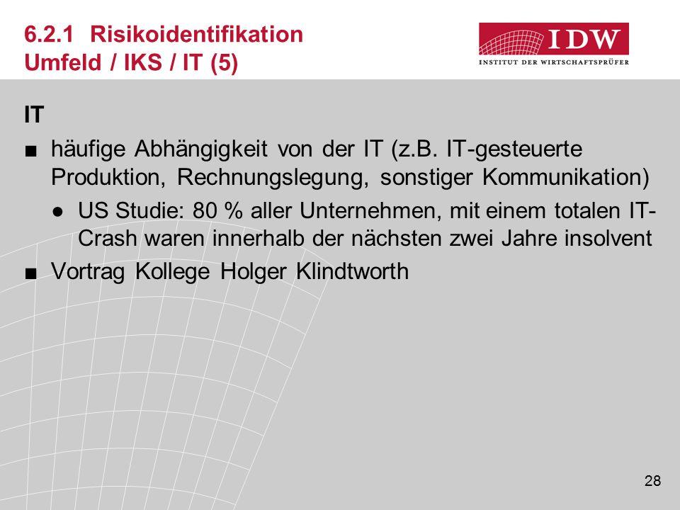 28 6.2.1 Risikoidentifikation Umfeld / IKS / IT (5) IT ■häufige Abhängigkeit von der IT (z.B. IT-gesteuerte Produktion, Rechnungslegung, sonstiger Kom