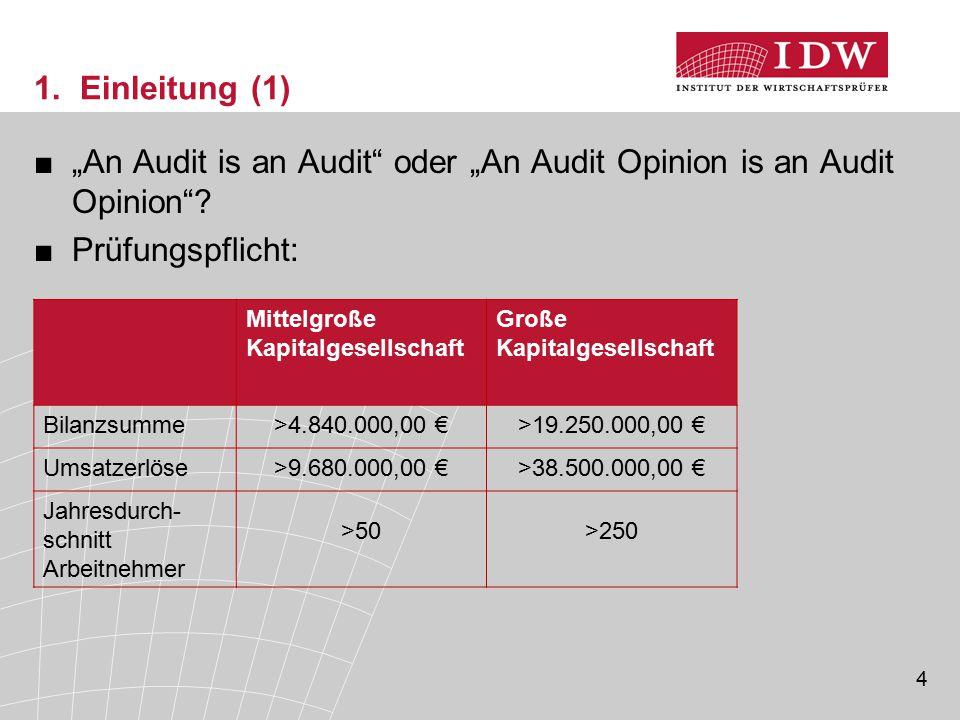 "4 1. Einleitung (1) ■""An Audit is an Audit"" oder ""An Audit Opinion is an Audit Opinion""? ■Prüfungspflicht: Mittelgroße Kapitalgesellschaft Große Kapit"