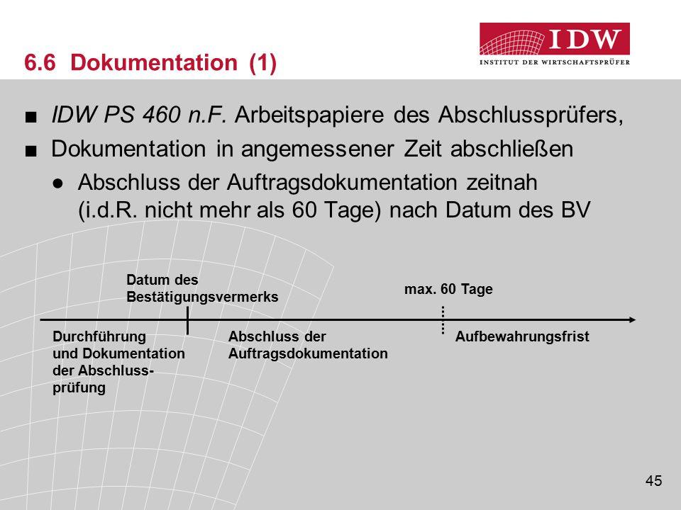 45 6.6 Dokumentation (1) ■IDW PS 460 n.F. Arbeitspapiere des Abschlussprüfers, ■Dokumentation in angemessener Zeit abschließen ●Abschluss der Auftrags