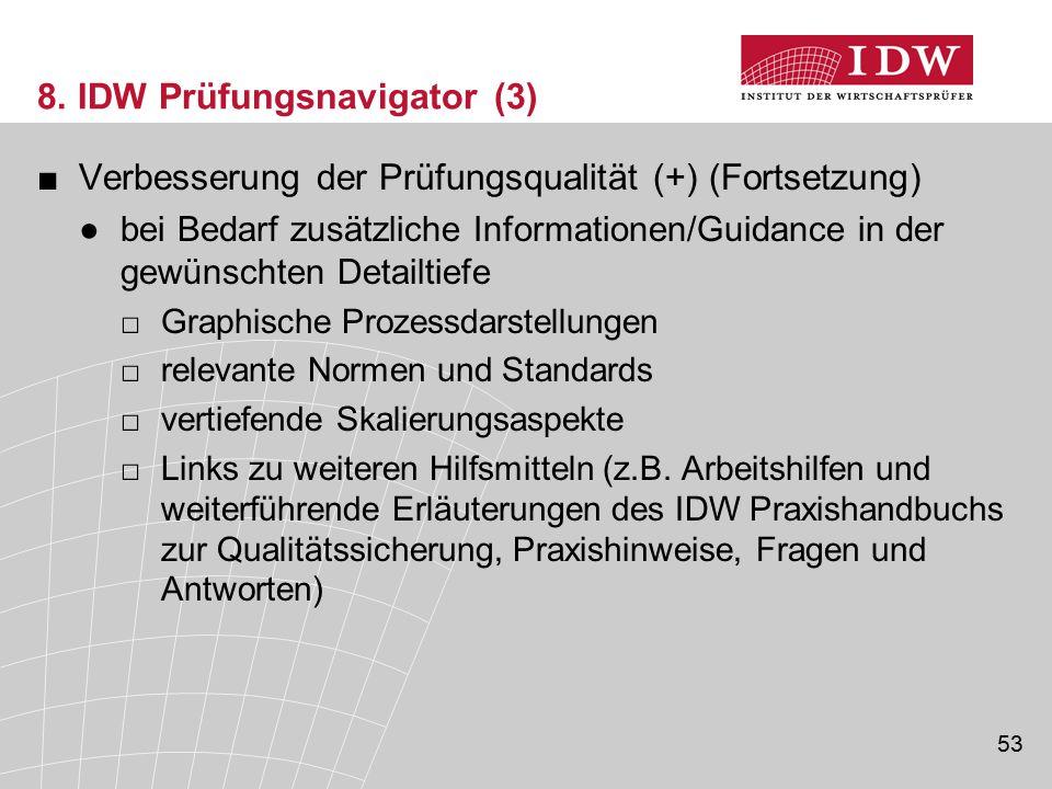 53 8. IDW Prüfungsnavigator (3) ■Verbesserung der Prüfungsqualität (+) (Fortsetzung) ●bei Bedarf zusätzliche Informationen/Guidance in der gewünschten
