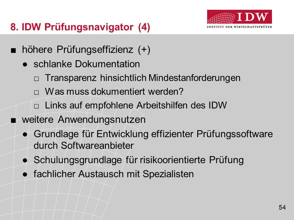 54 8. IDW Prüfungsnavigator (4) ■höhere Prüfungseffizienz (+) ●schlanke Dokumentation □Transparenz hinsichtlich Mindestanforderungen □Was muss dokumen