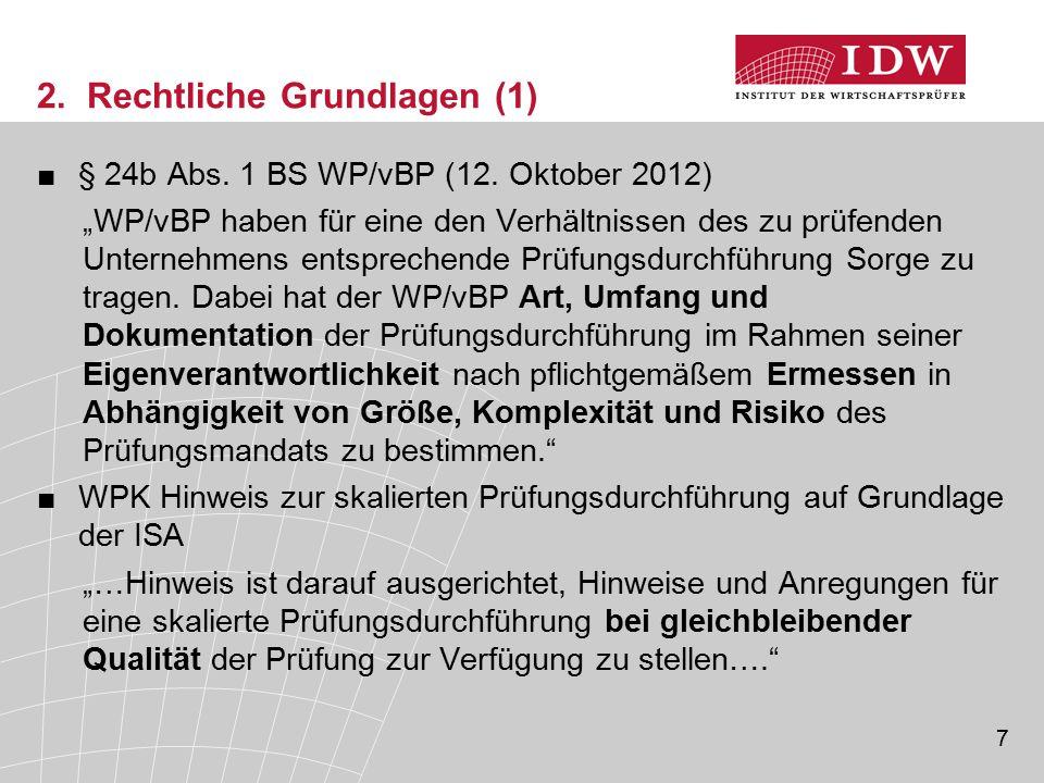 """7 2. Rechtliche Grundlagen (1) ■§ 24b Abs. 1 BS WP/vBP (12. Oktober 2012) """"WP/vBP haben für eine den Verhältnissen des zu prüfenden Unternehmens entsp"""