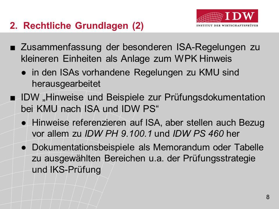 8 2. Rechtliche Grundlagen (2) ■Zusammenfassung der besonderen ISA-Regelungen zu kleineren Einheiten als Anlage zum WPK Hinweis ●in den ISAs vorhanden