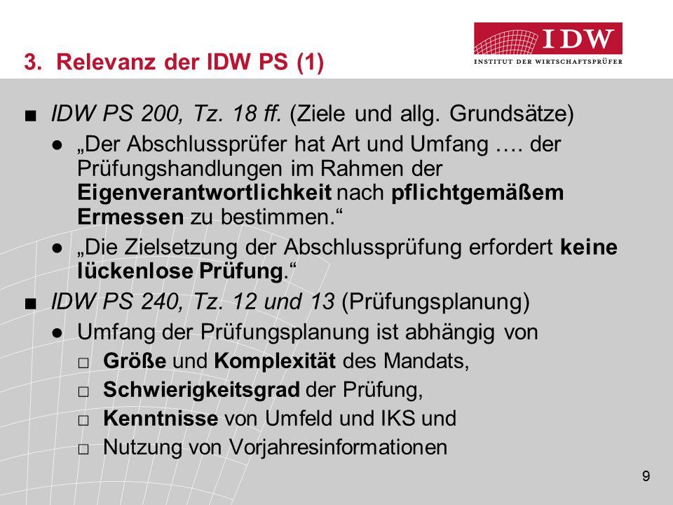 """9 3. Relevanz der IDW PS (1) ■IDW PS 200, Tz. 18 ff. (Ziele und allg. Grundsätze) ●""""Der Abschlussprüfer hat Art und Umfang …. der Prüfungshandlungen i"""