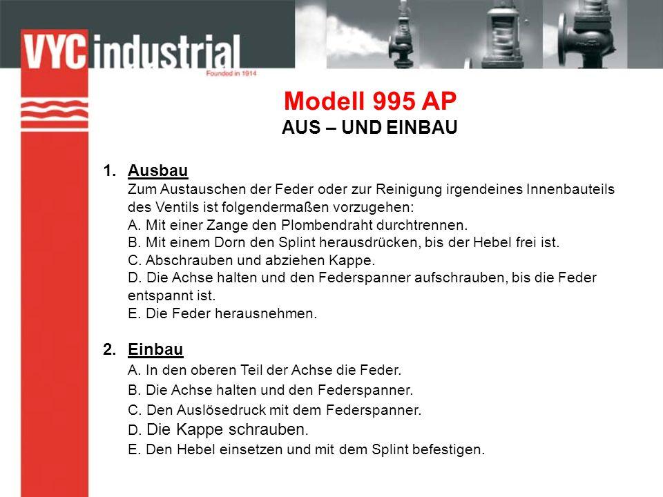 Modell 995 AP AUS – UND EINBAU 1.Ausbau Zum Austauschen der Feder oder zur Reinigung irgendeines Innenbauteils des Ventils ist folgendermaßen vorzugehen: A.