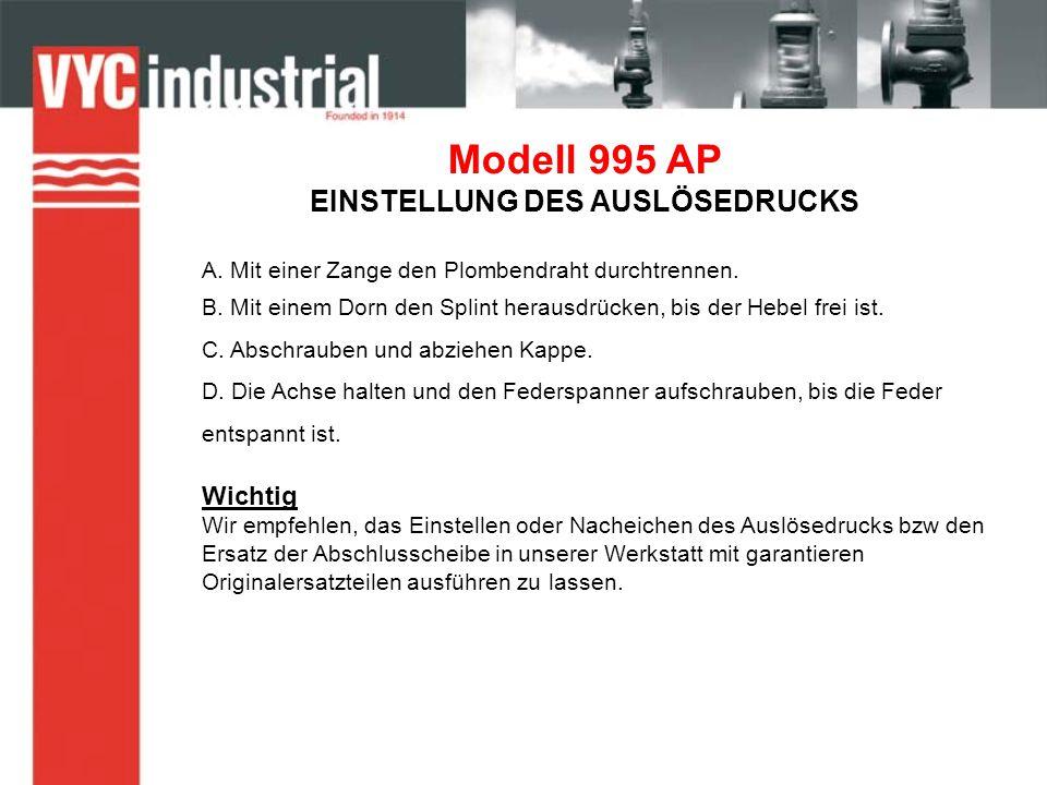 Modell 995 AP EINSTELLUNG DES AUSLÖSEDRUCKS A. Mit einer Zange den Plombendraht durchtrennen.