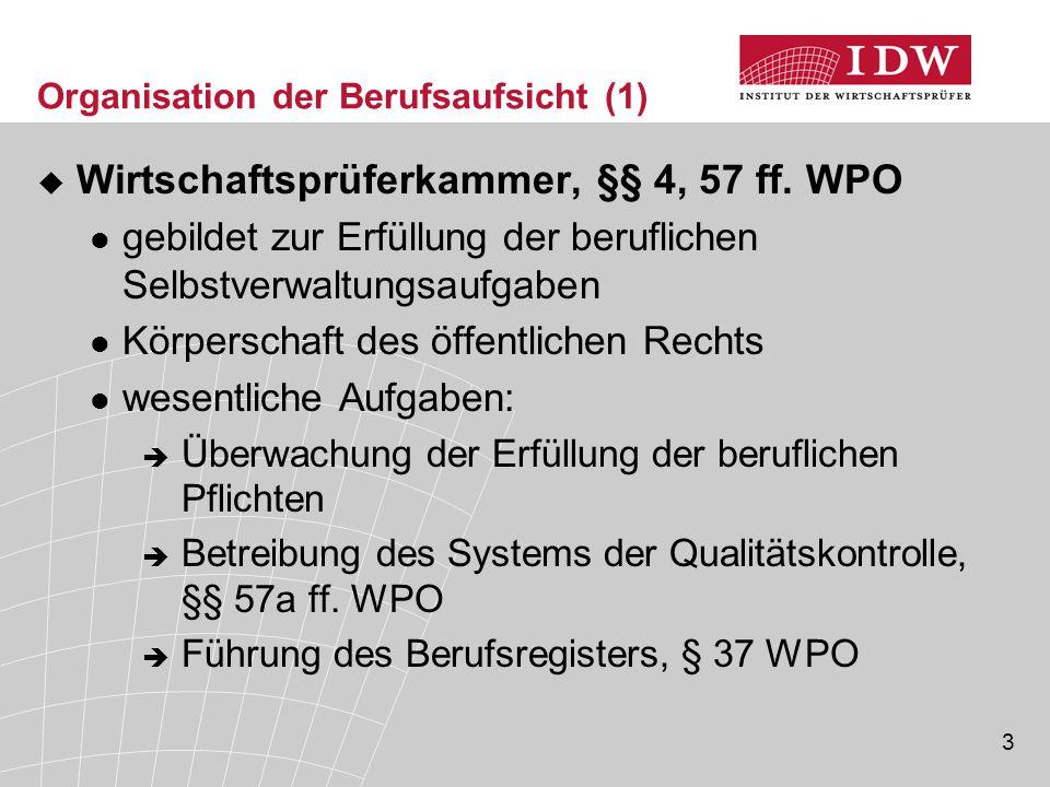 4 Organisation der Berufsaufsicht (2)  Bestellung von WP und vBP, Rücknahme und Widerruf der Bestellung  Erlass der Berufssatzung gemäß § 57 Abs.