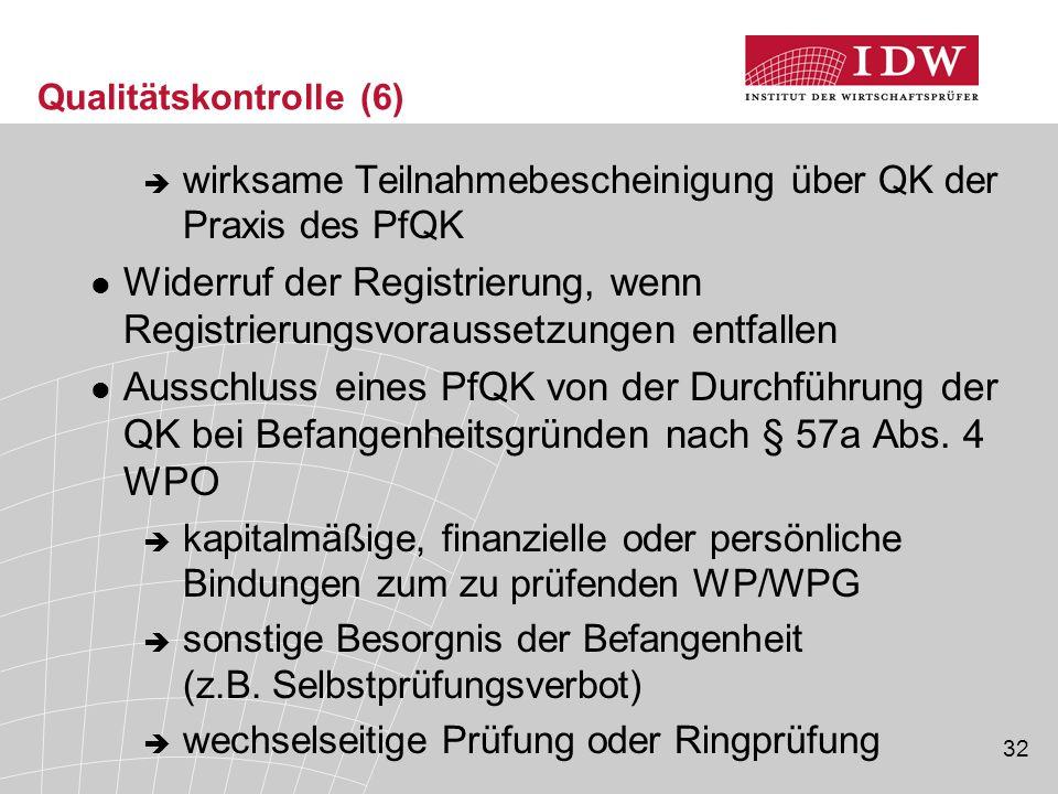 32 Qualitätskontrolle (6)  wirksame Teilnahmebescheinigung über QK der Praxis des PfQK Widerruf der Registrierung, wenn Registrierungsvoraussetzungen entfallen Ausschluss eines PfQK von der Durchführung der QK bei Befangenheitsgründen nach § 57a Abs.