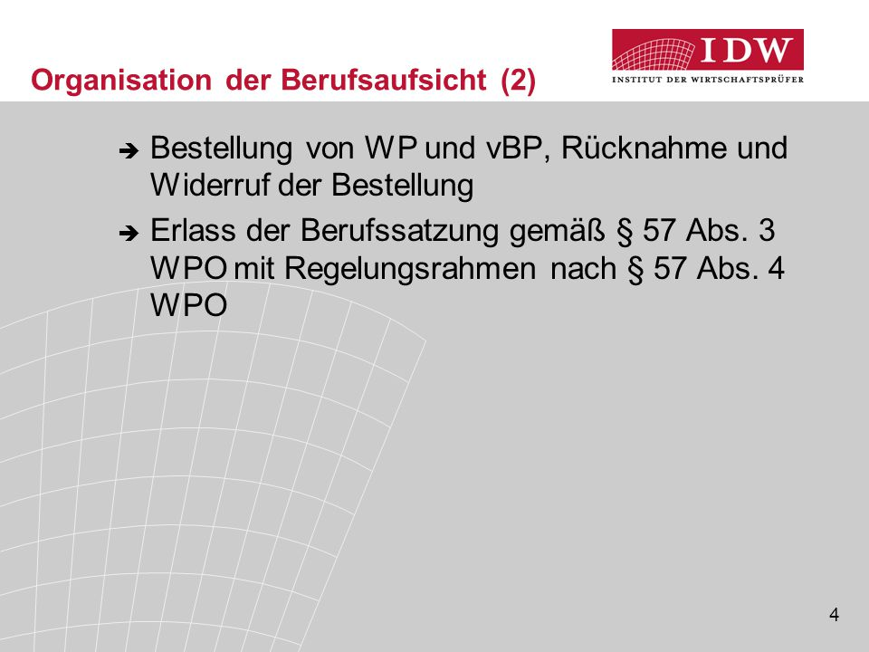 5 Organisation der Berufsaufsicht (3) interne Organisation  Pflichtmitgliedschaft für alle WP, vBP, WPG, BPG sowie für alle gesetzlichen Vertreter von WPG und BPG ohne WP-/vBP-Qualifikation (§ 58 WPO) – Beitragspflicht (§ 61 Abs.