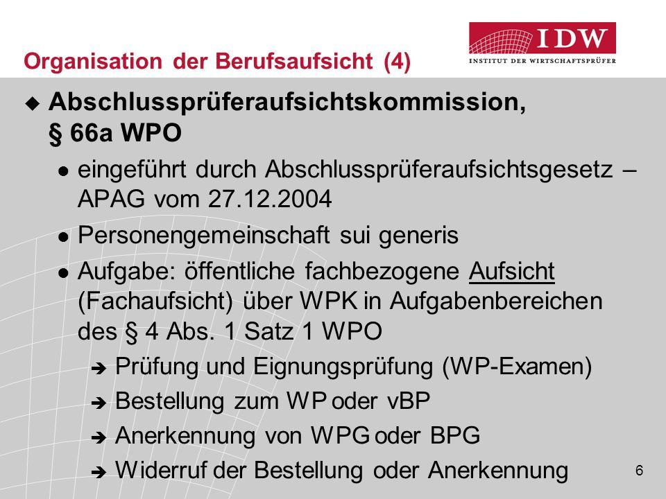 6 Organisation der Berufsaufsicht (4)  Abschlussprüferaufsichtskommission, § 66a WPO eingeführt durch Abschlussprüferaufsichtsgesetz – APAG vom 27.12.2004 Personengemeinschaft sui generis Aufgabe: öffentliche fachbezogene Aufsicht (Fachaufsicht) über WPK in Aufgabenbereichen des § 4 Abs.