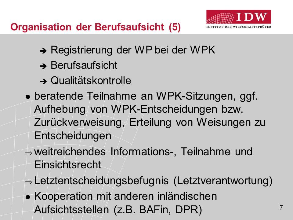 28 Qualitätskontrolle (2)  Ziel: Beurteilung, ob internes Qualitätssicherungs- system der jeweiligen Praxis die gesetzlichen und berufsständischen Anforderungen erfüllt  Zuständigkeit: Kommission für Qualitätskontrolle (KfQK) als unabhängiges und nicht weisungs- gebundenes Organ der WPK; Überwachung durch APAK (Zweitprüfung, Letztentscheidung)  Turnus der regelmäßigen, präventiven Kontrolle alle 6 Jahre (Ausnahme: alle 3 Jahre bei WP/WPG mit Unternehmen von öffentlichem Interesse i.S.v.