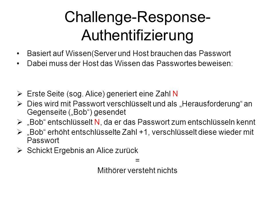Challenge-Response- Authentifizierung Basiert auf Wissen(Server und Host brauchen das Passwort Dabei muss der Host das Wissen das Passwortes beweisen:  Erste Seite (sog.