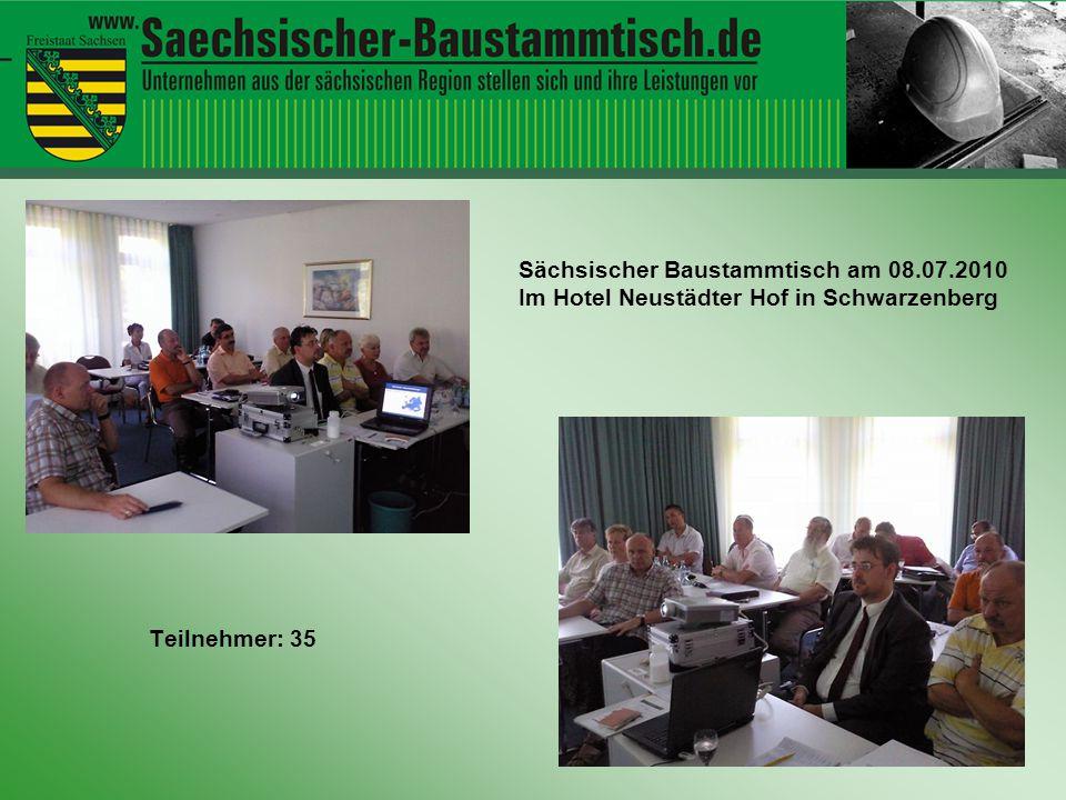 Hallo ihr Leute Teilnehmer: 35 Sächsischer Baustammtisch am 08.07.2010 Im Hotel Neustädter Hof in Schwarzenberg