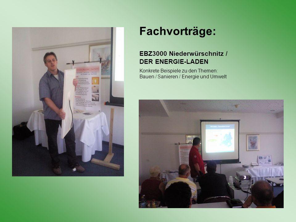 Fachvorträge: EBZ3000 Niederwürschnitz / DER ENERGIE-LADEN Konkrete Beispiele zu den Themen: Bauen / Sanieren / Energie und Umwelt