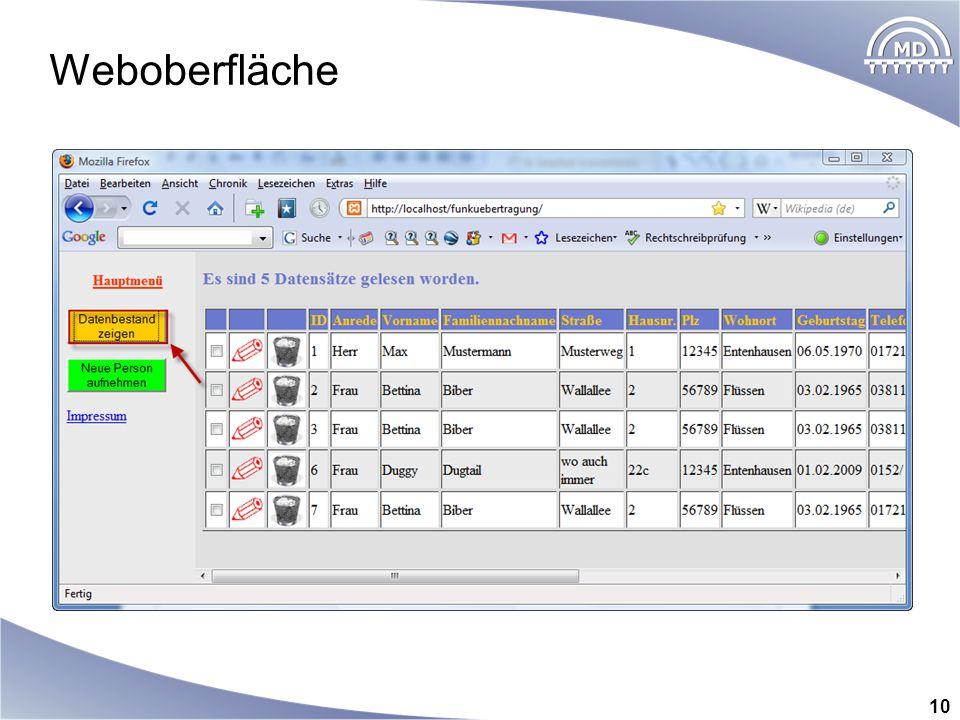 Weboberfläche 10