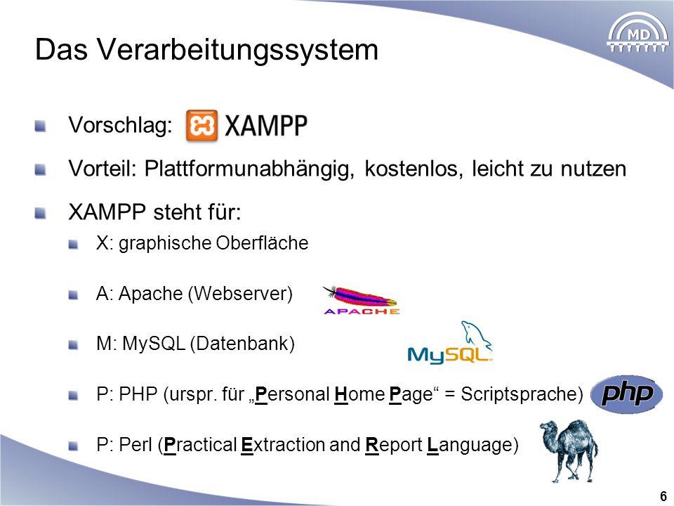 Das Verarbeitungssystem Vorschlag: Vorteil: Plattformunabhängig, kostenlos, leicht zu nutzen XAMPP steht für: X: graphische Oberfläche A: Apache (Webs