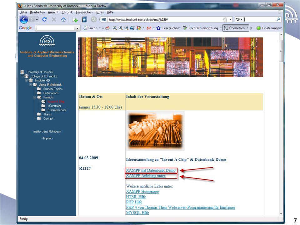 Vorbereitungen Wo finde ich Informationen? http://www.imd.uni-rostock.de/ma/js289/ 7
