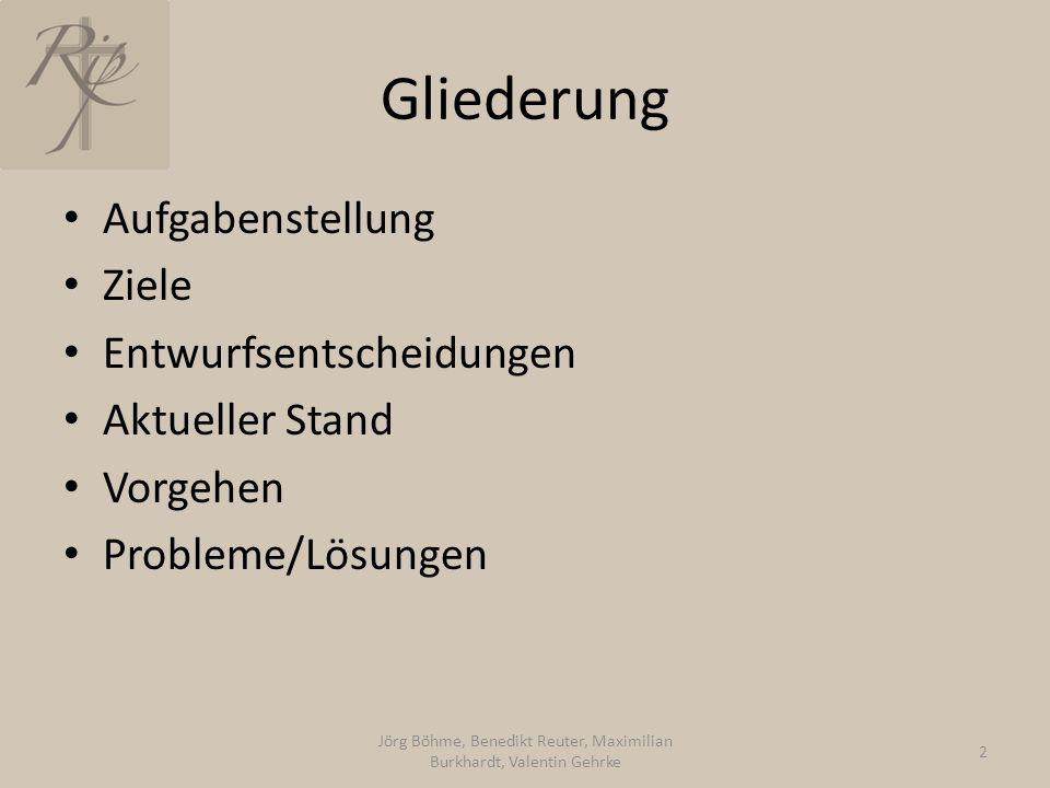Gliederung Aufgabenstellung Ziele Entwurfsentscheidungen Aktueller Stand Vorgehen Probleme/Lösungen Jörg Böhme, Benedikt Reuter, Maximilian Burkhardt,