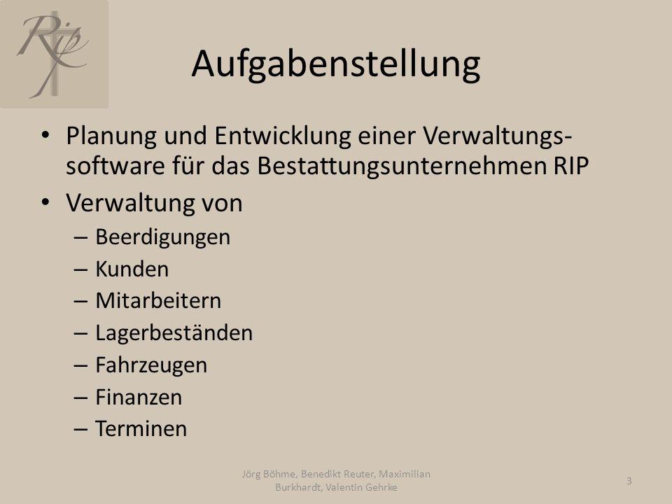 Aufgabenstellung Planung und Entwicklung einer Verwaltungs- software für das Bestattungsunternehmen RIP Verwaltung von – Beerdigungen – Kunden – Mitar