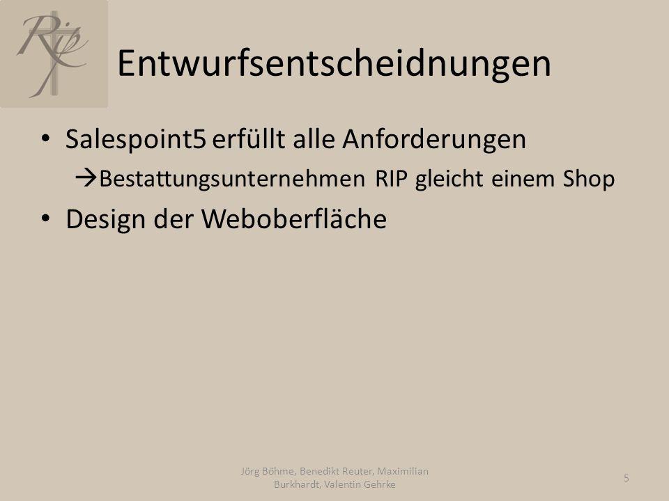 Entwurfsentscheidnungen Salespoint5 erfüllt alle Anforderungen  Bestattungsunternehmen RIP gleicht einem Shop Design der Weboberfläche Jörg Böhme, Be