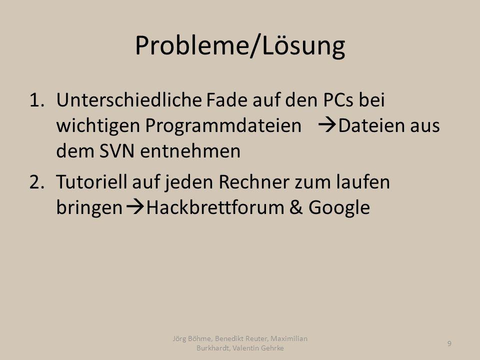 Probleme/Lösung 1.Unterschiedliche Fade auf den PCs bei wichtigen Programmdateien  Dateien aus dem SVN entnehmen 2.Tutoriell auf jeden Rechner zum la