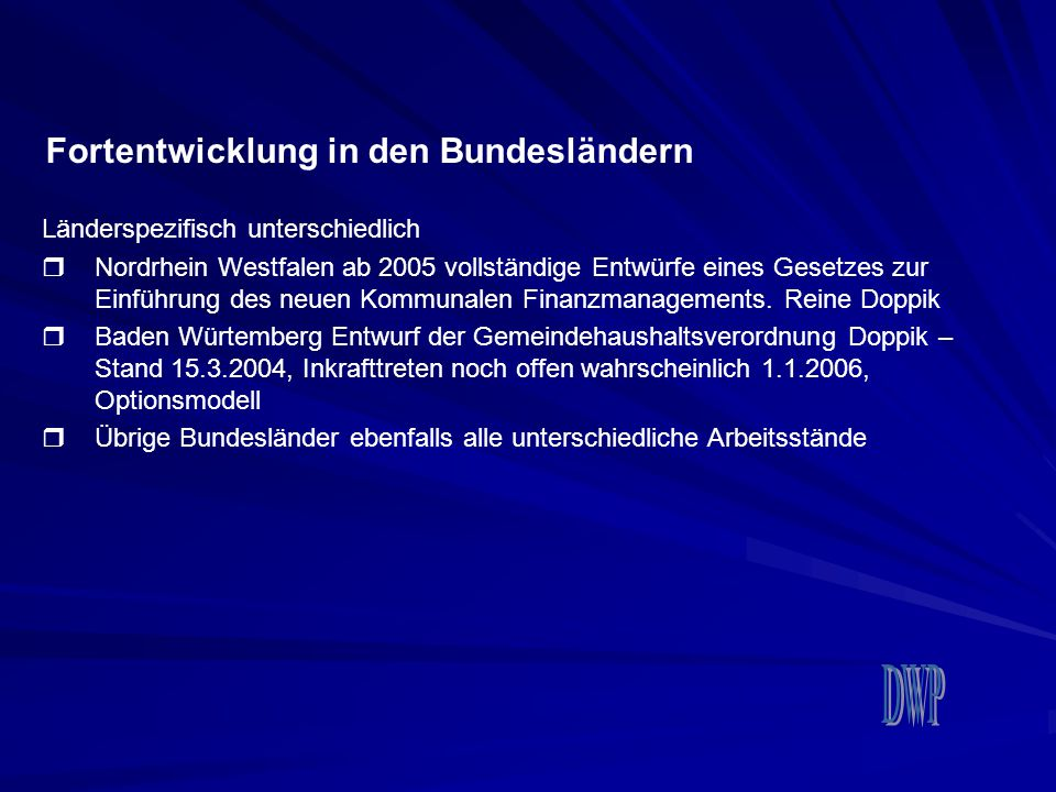 Fortentwicklung in den Bundesländern Länderspezifisch unterschiedlich  Nordrhein Westfalen ab 2005 vollständige Entwürfe eines Gesetzes zur Einführun