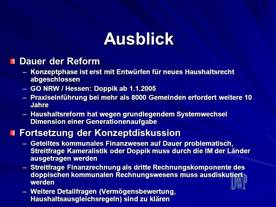 Ausblick Dauer der Reform –Konzeptphase ist erst mit Entwürfen für neues Haushaltsrecht abgeschlossen –GO NRW / Hessen: Doppik ab 1.1.2005 –Praxiseinf