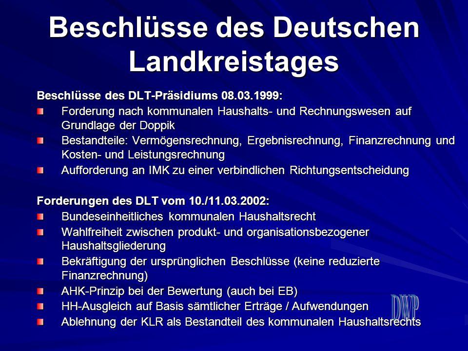Beschlüsse des Deutschen Landkreistages Beschlüsse des DLT-Präsidiums 08.03.1999: Forderung nach kommunalen Haushalts- und Rechnungswesen auf Grundlag