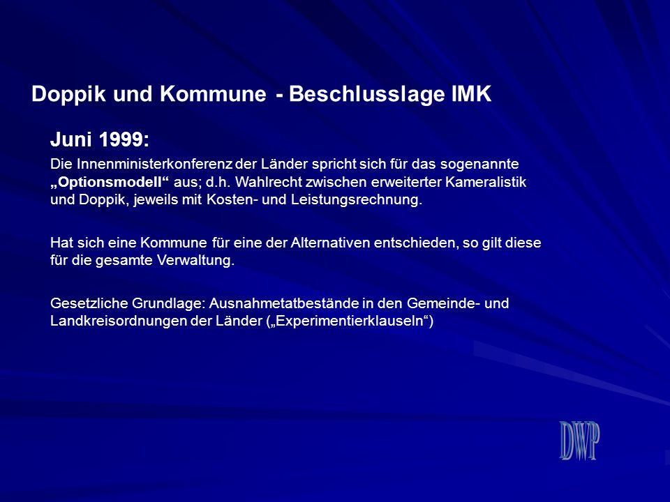 """Doppik und Kommune - Beschlusslage IMK Juni 1999: Die Innenministerkonferenz der Länder spricht sich für das sogenannte """"Optionsmodell"""" aus; d.h. Wahl"""