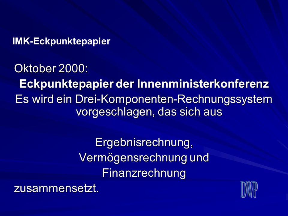 Oktober 2000: Eckpunktepapier der Innenministerkonferenz Es wird ein Drei-Komponenten-Rechnungssystem vorgeschlagen, das sich aus Ergebnisrechnung, Ve
