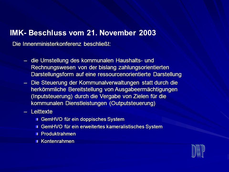 IMK- Beschluss vom 21. November 2003 Die Innenministerkonferenz beschließt: –die Umstellung des kommunalen Haushalts- und Rechnungswesen von der bisla