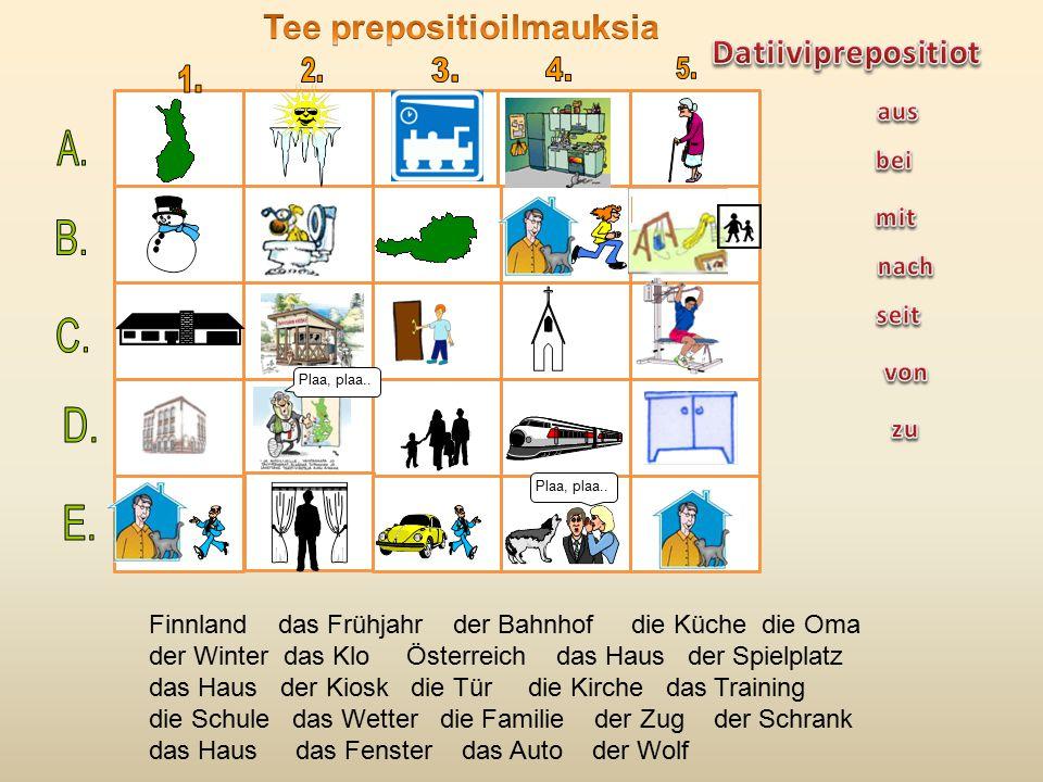 Plaa, plaa.. Finnland das Frühjahr der Bahnhof die Küche die Oma der Winter das Klo Österreich das Haus der Spielplatz das Haus der Kiosk die Tür die
