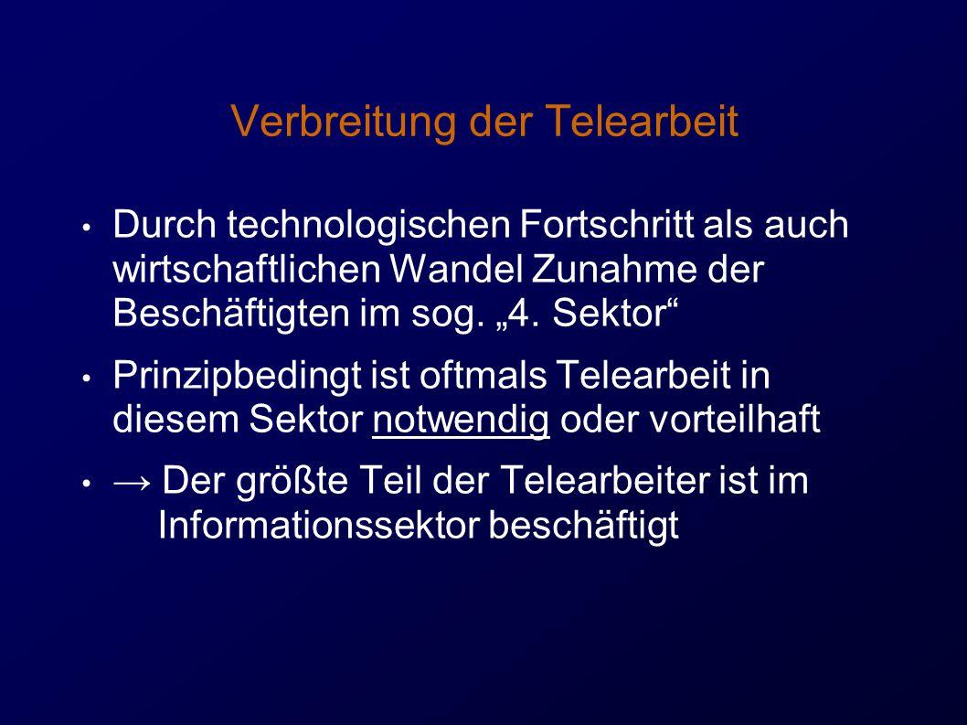 Verbreitung der Telearbeit Durch technologischen Fortschritt als auch wirtschaftlichen Wandel Zunahme der Beschäftigten im sog.