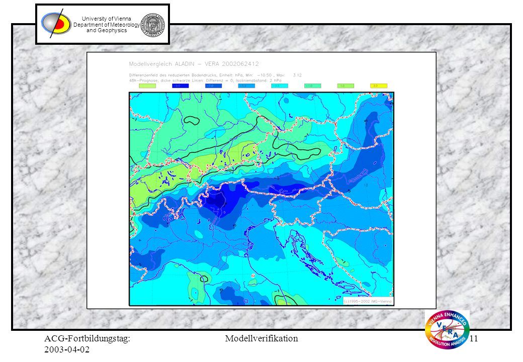ACG-Fortbildungstag: Modellverifikation10 University of Vienna Department of Meteorology and Geophysics