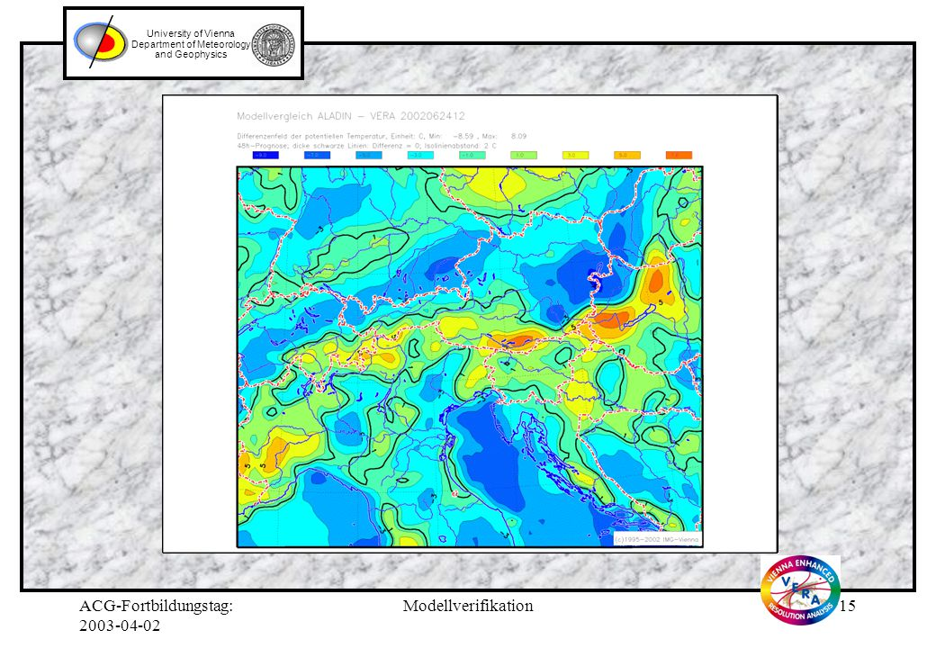ACG-Fortbildungstag: Modellverifikation14 University of Vienna Department of Meteorology and Geophysics