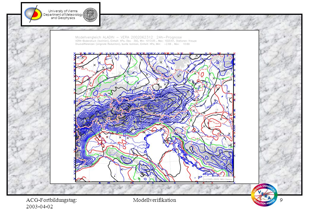 ACG-Fortbildungstag: 2003-04-02 Modellverifikation9 University of Vienna Department of Meteorology and Geophysics