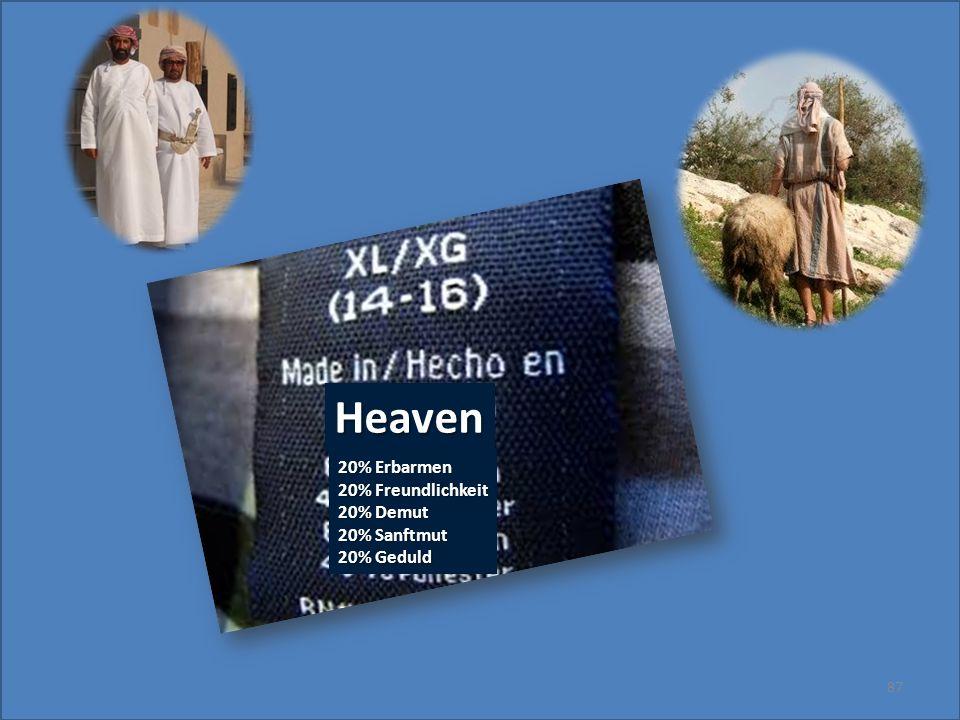 87 Heaven 20% Erbarmen 20% Freundlichkeit 20% Demut 20% Sanftmut 20% Geduld