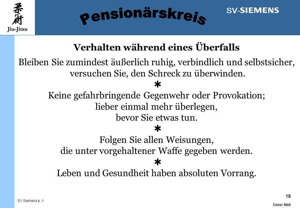 19 Dieter Mäß SV Siemens e. V SV- Verhalten während eines Überfalls Bleiben Sie zumindest äußerlich ruhig, verbindlich und selbstsicher, versuchen Sie