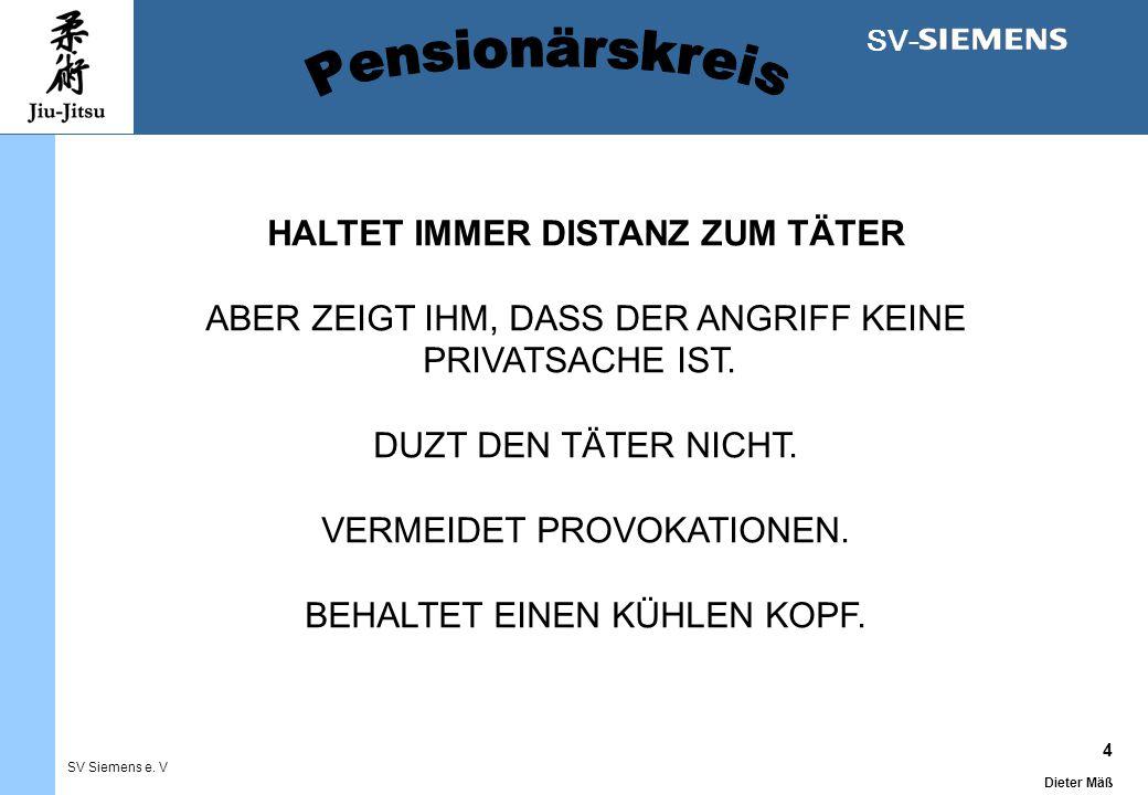 4 Dieter Mäß SV Siemens e. V SV- HALTET IMMER DISTANZ ZUM TÄTER ABER ZEIGT IHM, DASS DER ANGRIFF KEINE PRIVATSACHE IST. DUZT DEN TÄTER NICHT. VERMEIDE
