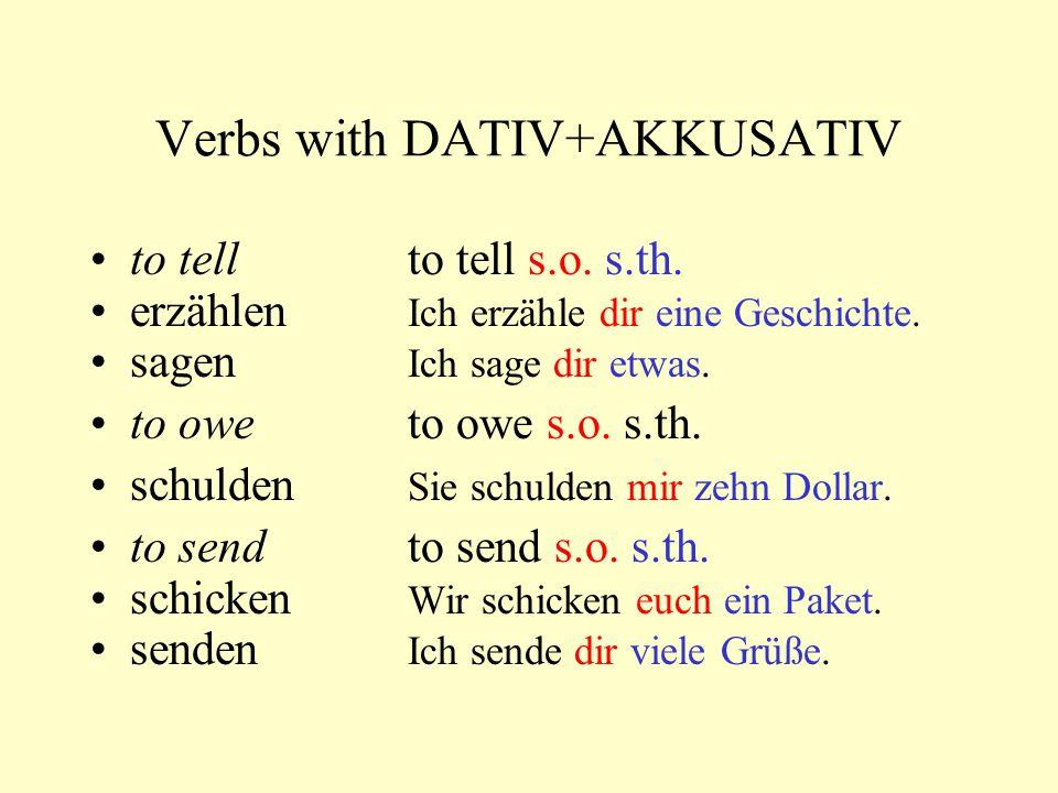 Verbs with DATIV+AKKUSATIV to tellto tell s.o.s.th.