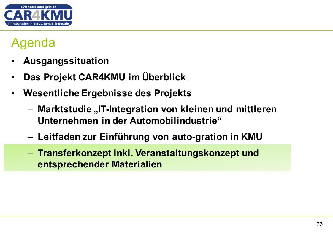 """Agenda Ausgangssituation Das Projekt CAR4KMU im Überblick Wesentliche Ergebnisse des Projekts –Marktstudie """"IT-Integration von kleinen und mittleren U"""
